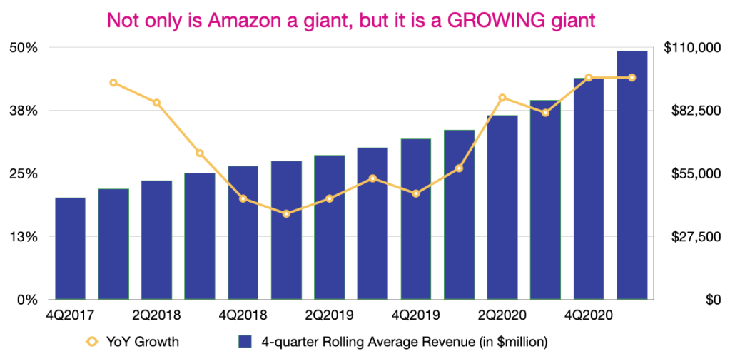 Amazon's YoY growth in revenue
