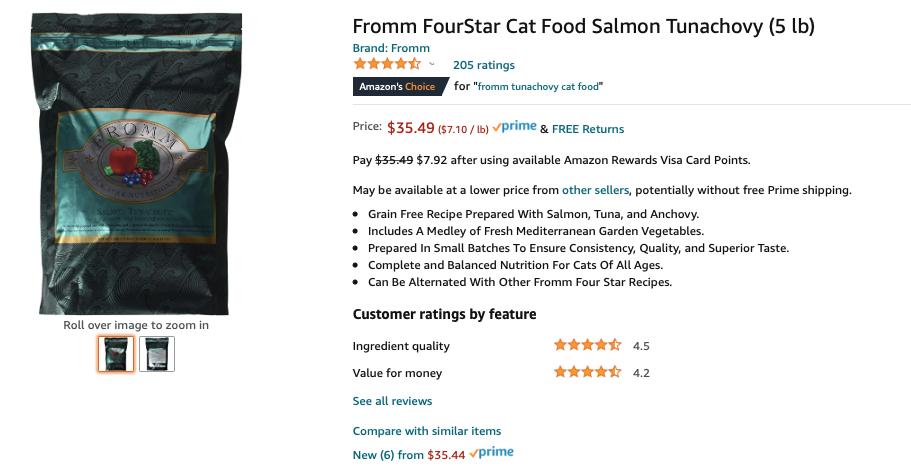 Fromm Tunachovy Salmon Cat Dry Food on Amazon