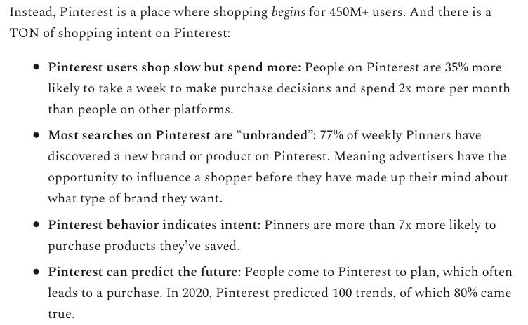 Shopping intent on Pinterest stats