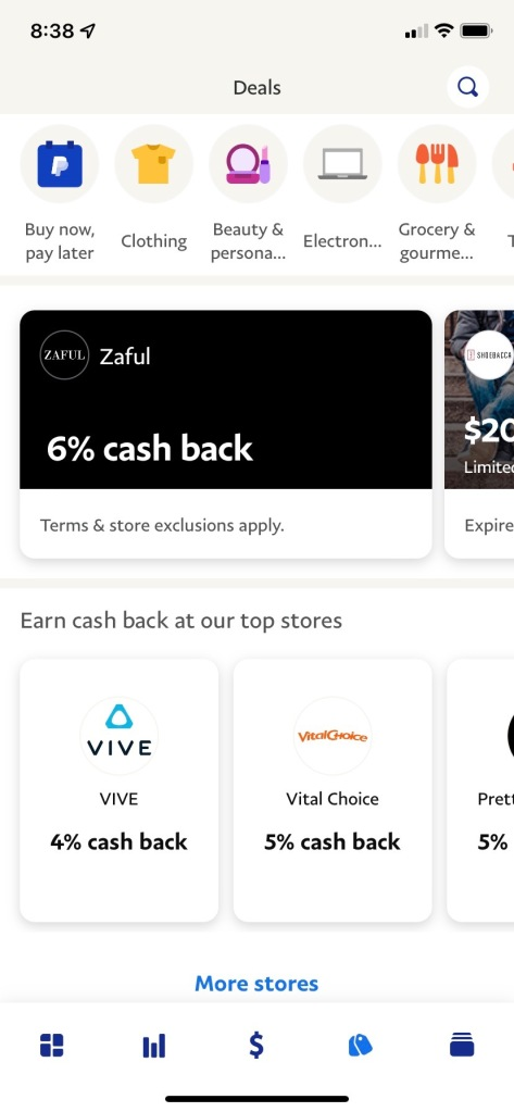 The Shop tab on PayPal's app